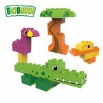 BiOBUDDi - Lagoon Crocodile, Duck, Flamingo & Tree - Eco Friendly Block Set - 25 Blocks